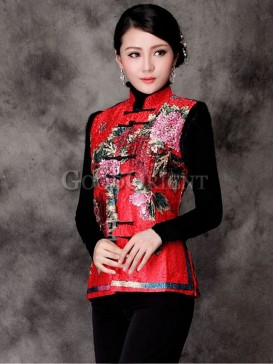 Chinese Hand-Painted Floral Vest-Red