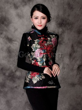 Chinese Hand-Painted Floral Vest-Black