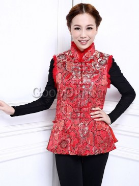 Mysterious Golden Flower Vest-Red
