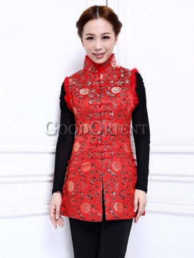 "Chinese Red With ""Fu"" Pattern Waistcoat"