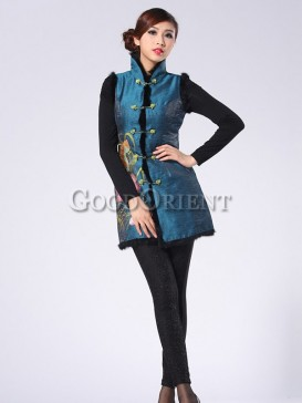 Shinning Embroidery Floral Wadded Vest