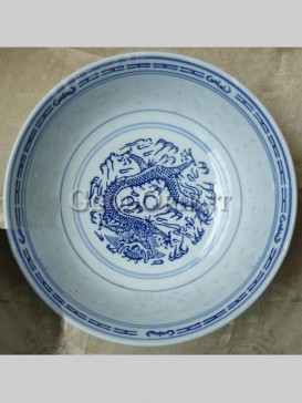 Oriental Blue And White Porcelain Bowl-Flying Dragon