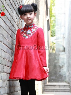 Fashionable Chinese Red Embroidery Vest Dress