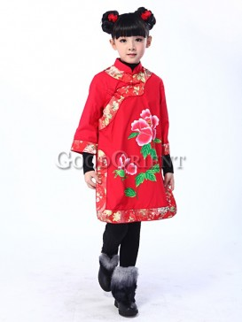 Chinese Red With Peony Vest Dress