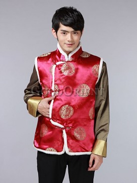 Chinese Fu&Shou Vest-Wine Red