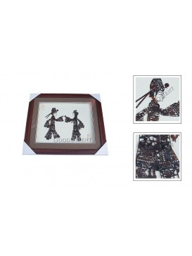 Framed Shadow Play Puppets Set---A Handsome Scholar and A Pretty Girl