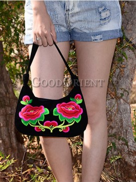 Noble Handmade Embroidery Floral Linen Bag