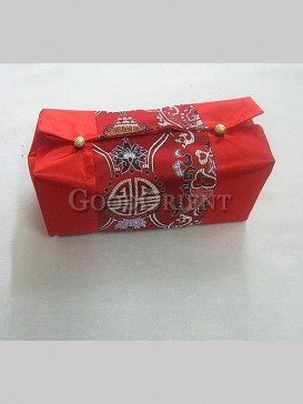 Lucky Embroidery Tissue Box Cover--Red