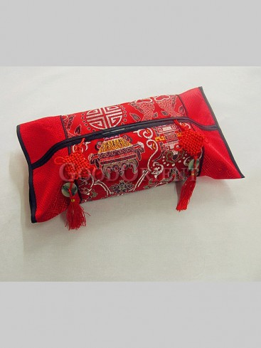 Chinese Knot Embroidery Tissue Holder-Red