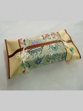 Chinese Knot Embroidery Tissue Holder-Pale Gold
