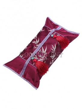Classical Tassel Design Tissue Box Cover-Wine Red