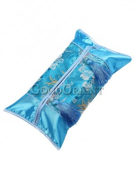 Lake Blue Embroidery Floral Tissue Holder