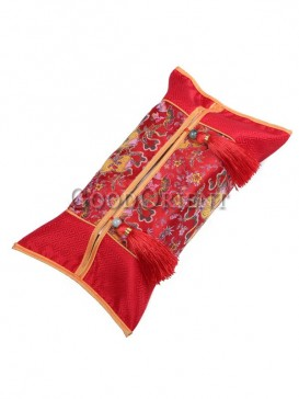 Chinese Red Embroidery Tissue Box Cover