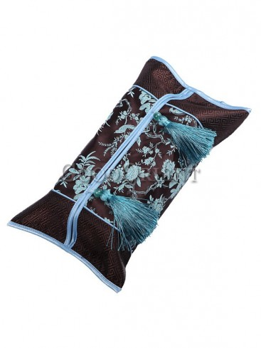 Delicate Embroidery Floral Tissue Holder-Dark Coffee