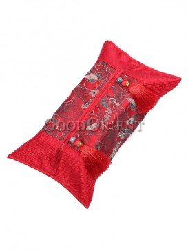 Oriental Style Embroidery Tissue Holder-Red