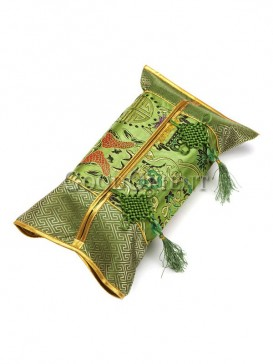 Concise Embroidery Design Tissue Box Cover-Green