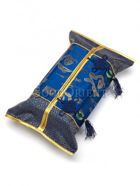 Chinese Calligraphy Pattern Tissue Holder-Bright Blue