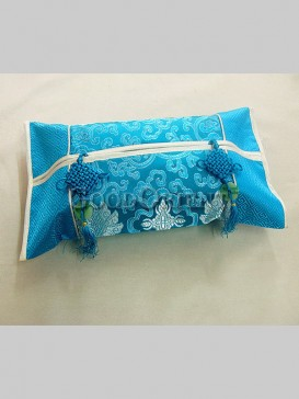 Oriental Style Embroidery Tissue Holder-Lake Blue