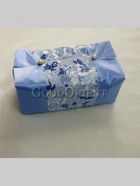 Vintage Embroidery Tissue Box Cover-Pale Blue