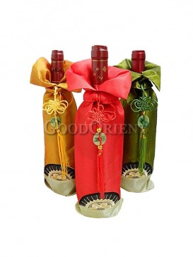 Thai silk sun flower style wine bottle cover