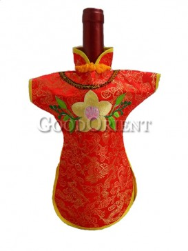 Red brocade wine bottle cover