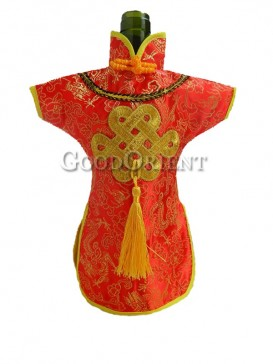 Red chinese dress wine bottle cover