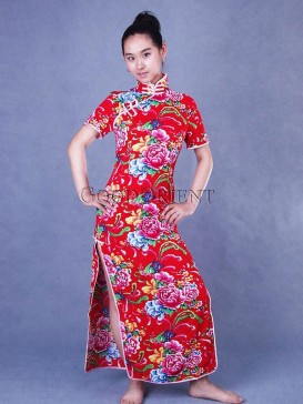 Chinese Red Peony Cotton Dress