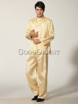 Chinese Blessing Matching Kungfu Suit--Gold Yellow