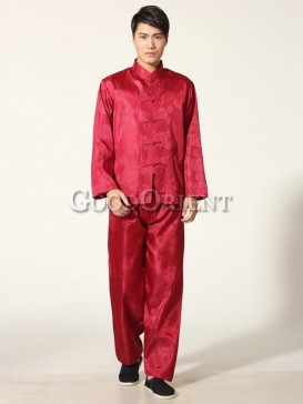 Chinese Blessing Matching Kungfu Suit--Wine Red