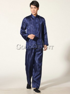 Chinese Blessing Matching Kungfu Suit--Blue