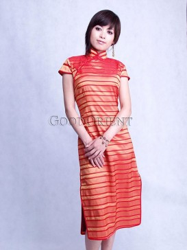 Orange Polyester Cheongsam