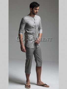 Chinese Style Asymmetric Tai Chi Men's Clothing