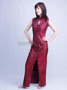 Dark Red Key Hole Dress