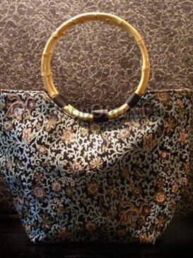 Floral Brocade Bamboo Ring Handbag