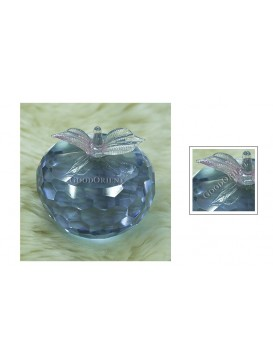 Purple Multiple Surface Crystal Apple Paperweight