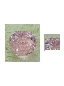 Pink Multiple Surface Crystal Apple Paperweight