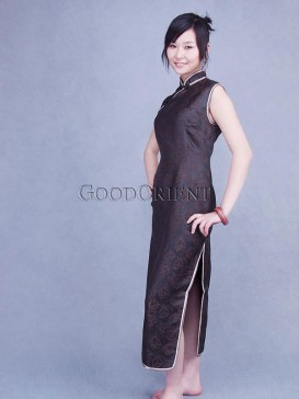 Brown Rose Silk Crape Cheongsam