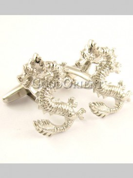 Exquisite Silver Dragon Shirt Cufflinks