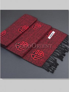 "Classical Red With Character ""Fu"" Men's Scarf"