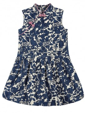 Classical Blue Lotus Girl's Dress