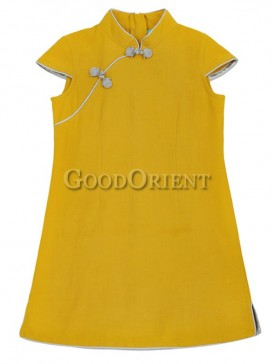 Inimitable Simple Girl's Dress--Yellow