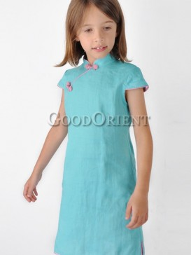 Inimitable Simple Girl's Dress--Lake Blue