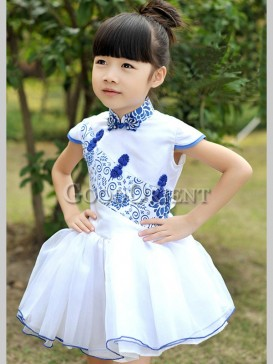 Blue and White Porcelain Design Girl's Dress