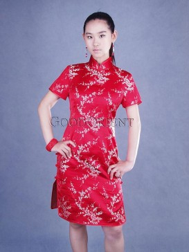 Chinese Red Plum Blossom Dress