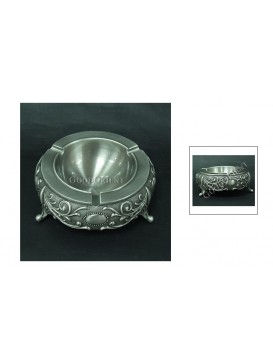 Floral Pattern Pewter Ashtray