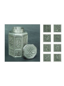 The Eight Immortals Crossing the Sea Pewter Tea Caddy