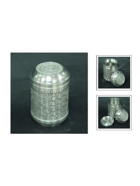 One Hundred Fu Pewter Tea Caddy