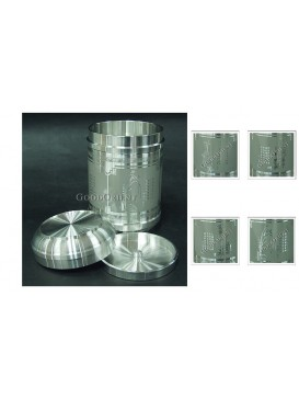 Four Famous Chinese Plants Pewter Tea Caddy