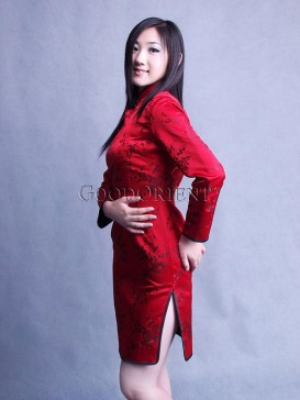 Chinese Red Plum Blossom Chongsam