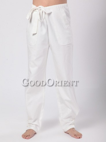 Simple Chinese Kungfu Pants--White